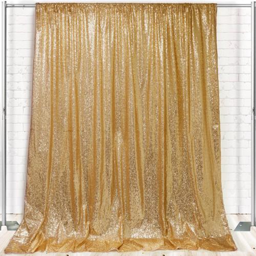 Glitz Sequin on Taffeta Drape/Backdrop 10 ft x 104 Inches Gold