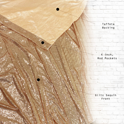 Glitz Sequin on Taffeta Drape/Backdrop 10 ft x 104 Inches Gold front and back