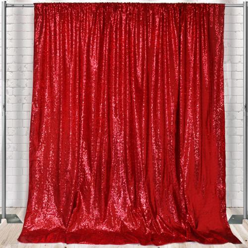 Glitz Sequin on Taffeta Drape/Backdrop 10 ft x 104 Inches Red