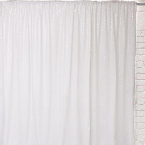 Glitz Sequin on Taffeta Drape/Backdrop 10 ft x 104 Inches White