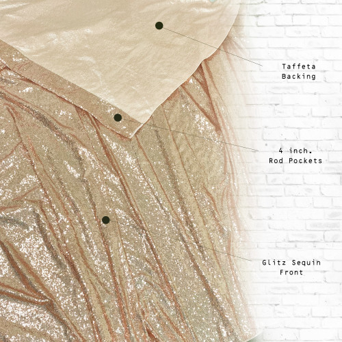 Glitz Sequin on Taffeta Drape/Backdrop 12 ft x 104 Inches Champagne front and back