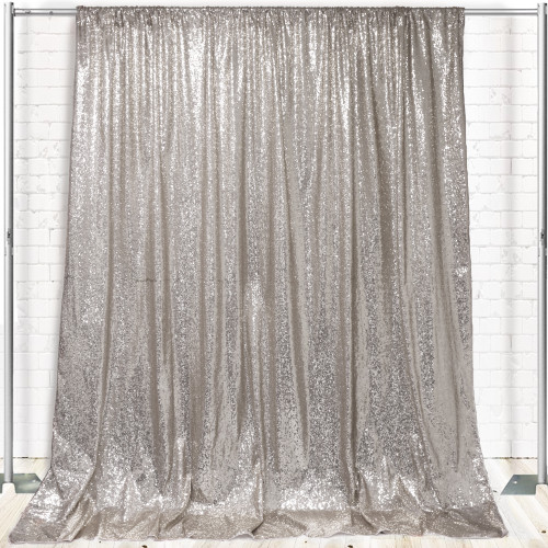 Glitz Sequin on Taffeta Drape/Backdrop 12 ft x 104 Inches Silver