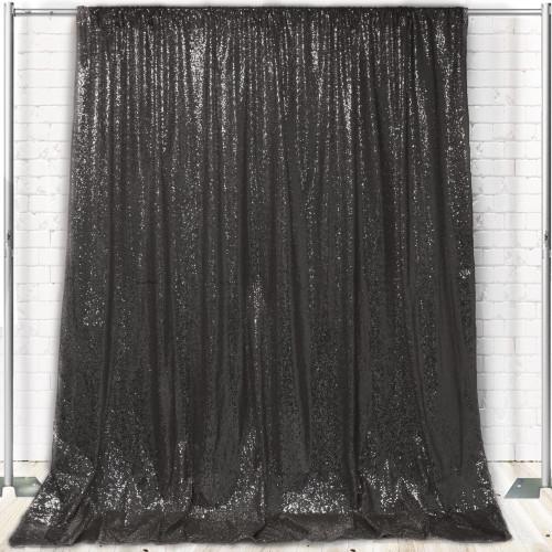Glitz Sequin on Taffeta Drape/Backdrop 14 ft x 104 Inches Black