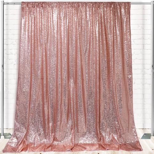 Glitz Sequin on Taffeta Drape/Backdrop 14 ft x 104 Inches Blush front and back