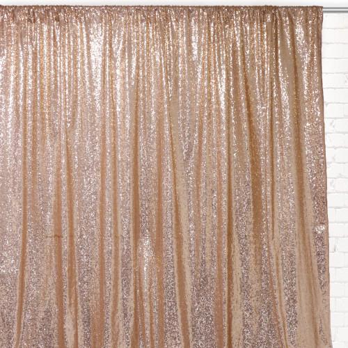 Glitz Sequin on Taffeta Drape/Backdrop 14 ft x 104 Inches Champagne