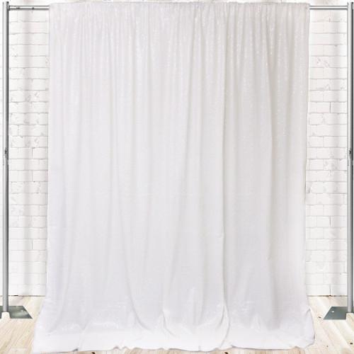 Glitz Sequin on Taffeta Drape/Backdrop 14 ft x 104 Inches White