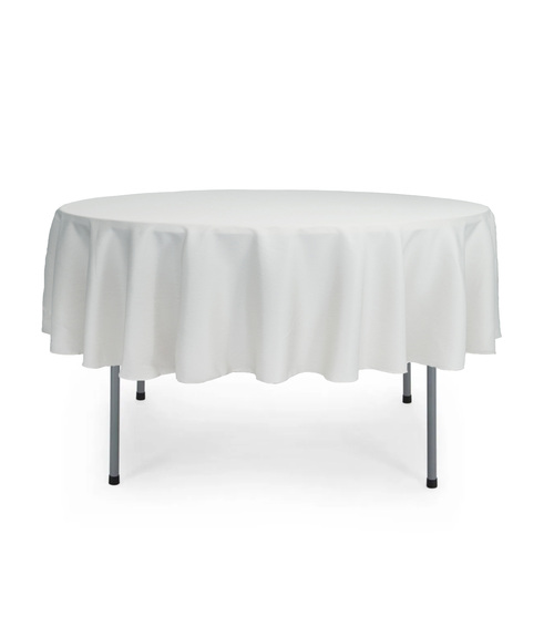 70 Inch Round Polyester Tablecloth White