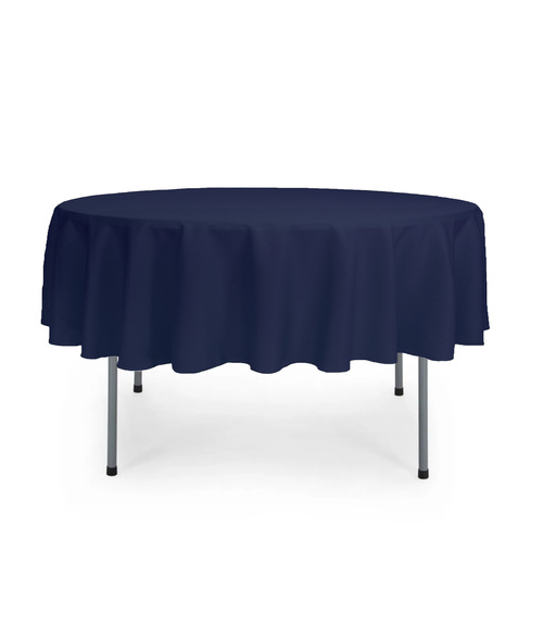 70 Inch Round Polyester Tablecloth Navy Blue