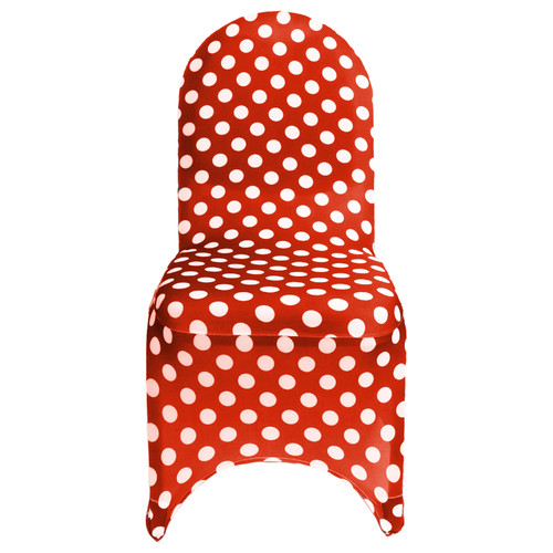 Stretch Spandex Banquet Chair Cover Red and White Polka Dot