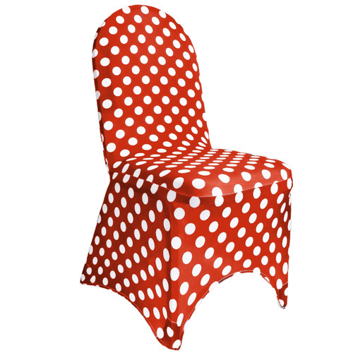 Red and white chair covers