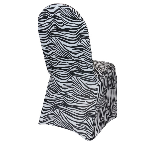 Stretch Spandex Banquet Chair Cover Black and White Zebra side view