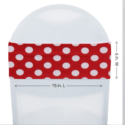 Stretch Spandex Chair Bands Red and White Polka Dot