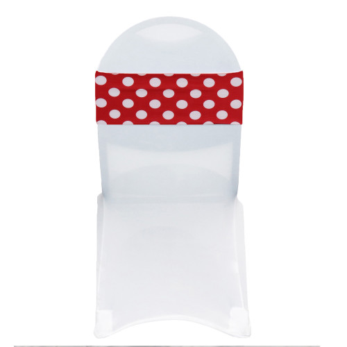 10 Pack Stretch Spandex Chair Bands Red and White Polka Dot