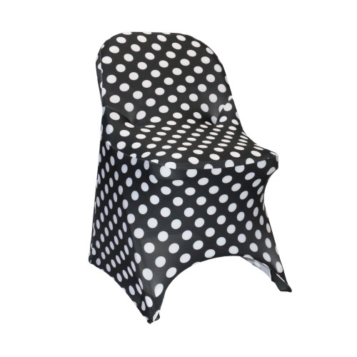 Stretch Spandex Folding Chair Covers Black and White Polka Dot