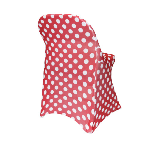 Stretch Spandex Folding Chair Covers Red and White Polka Dot side view