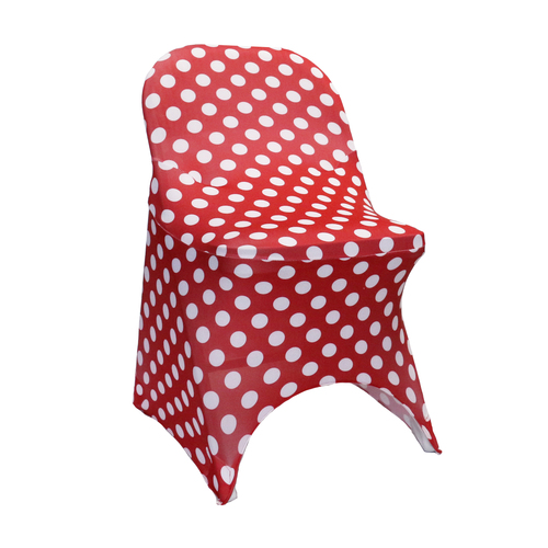 Stretch Spandex Folding Chair Covers Red and White Polka Dot