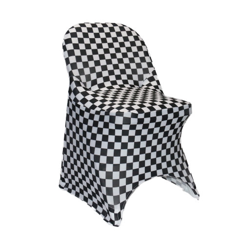Stretch Spandex Folding Chair Covers Black and White Checkered