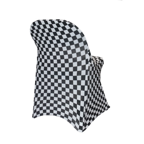 Stretch Spandex Folding Chair Covers Black and White Checkered side view
