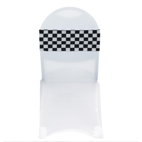 10 Pack Stretch Spandex Chair Bands Black and White Checkered