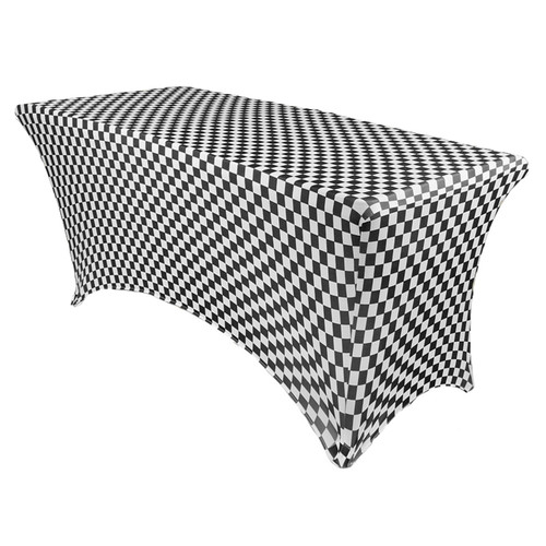 Stretch Spandex 6 Ft Rectangular Table Cover Black and White Checkered