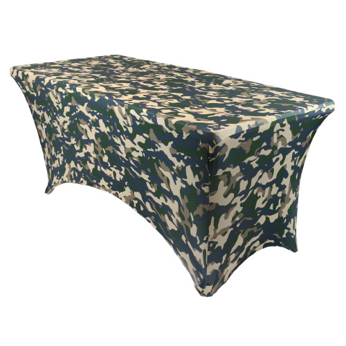 Stretch Spandex 6 Ft Rectangular Table Cover Camo