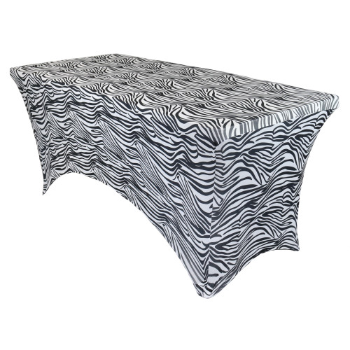 Stretch Spandex 6 Ft Rectangular Table Cover Zebra