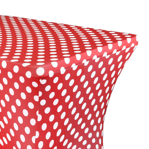 Stretch Spandex 8 Ft Rectangular Table Cover Polka Dot Red/White Zoom