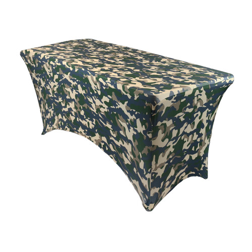 Stretch Spandex 4 ft Rectangular Table Cover Camouflage/Army