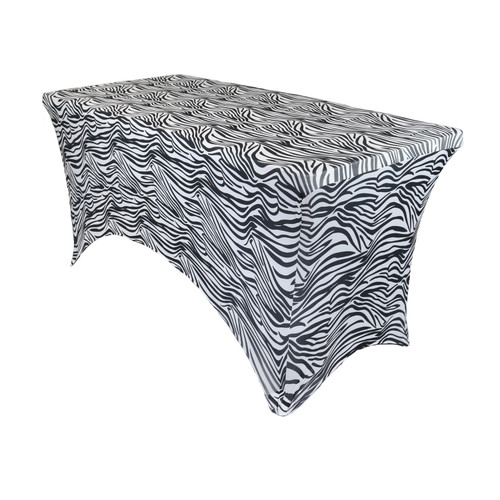 Stretch Spandex 4 ft Rectangular Table Cover Zebra