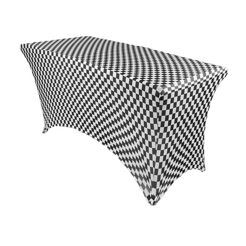 Stretch Spandex 4 ft Rectangular Table Cover Black and White Checkered