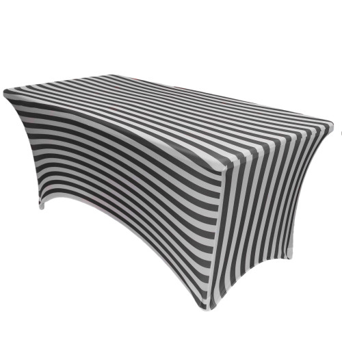 Stretch Spandex 4 ft Rectangular Table Cover Black and White Striped