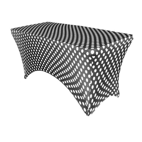 Stretch Spandex 4 ft Rectangular Table Cover Black and White Polka Dot