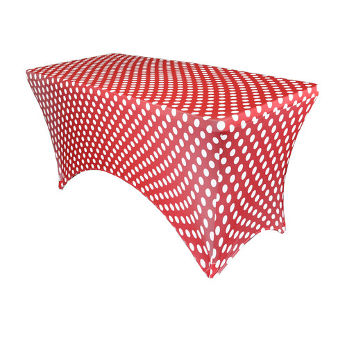 Stretch Spandex 4 ft Rectangular Table Cover Red and White Polka Dot