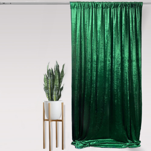 "Velvet 10ft x 60"" Drape with 4 inch pocket Emerald Green"