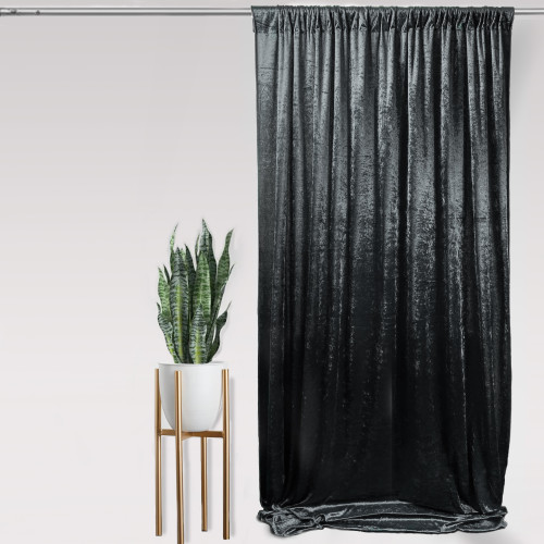 "Velvet 14ft x 60"" Drape with 4 inch pocket Black"