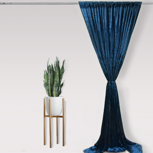 Velvet 14 ft x 60 Inch Drape with 4 Inch Pocket Navy Blue