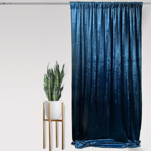 "Velvet 14ft x 60"" Drape with 4 inch pocket Navy Blue"