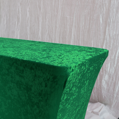 Velvet Spandex 6 Ft Rectangular Table Cover Emerald Green