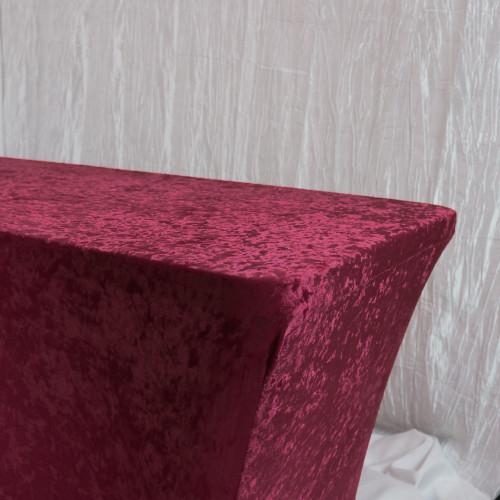 Velvet Spandex 8 Ft Rectangular Table Cover Burgundy