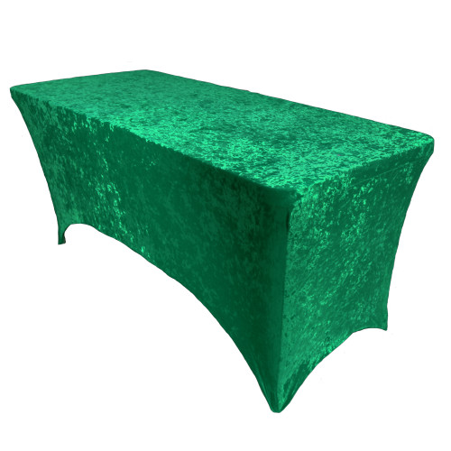 Velvet Spandex 8 Ft Rectangular Table Cover Emerald Green