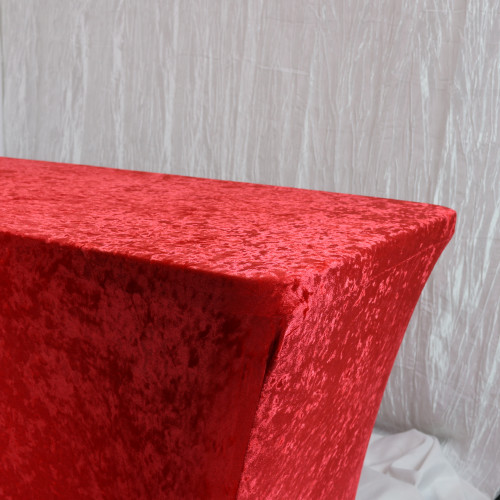 Velvet Spandex 8 Ft Rectangular Table Cover Red