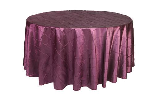 120 Inch Pintuck Taffeta Round Tablecloths Eggplant