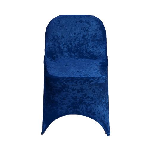 Velvet Spandex Folding Chair Cover Navy Blue