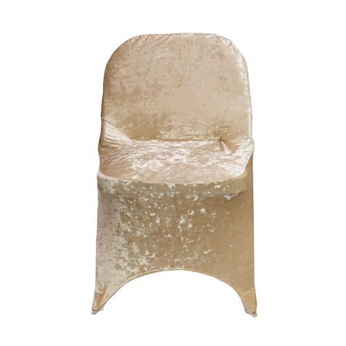 Velvet Spandex Folding Chair Cover Champagne