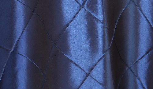 120 Inch Pintuck Taffeta Round Tablecloth Navy Blue