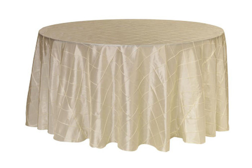 120 inch Pintuck Taffeta Round Tablecloths Ivory
