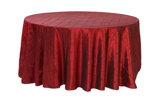 132 Inch Pintuck Taffeta Round Tablecloths Burgundy