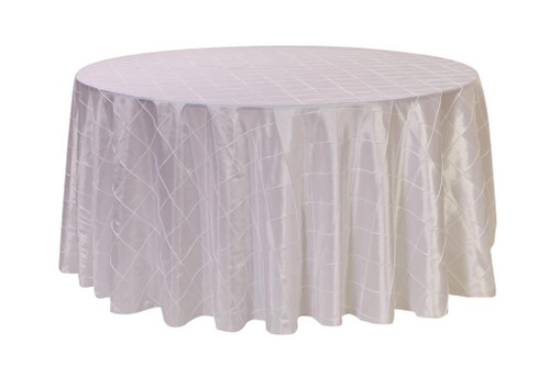132 Inch Pintuck Taffeta Round Tablecloths White