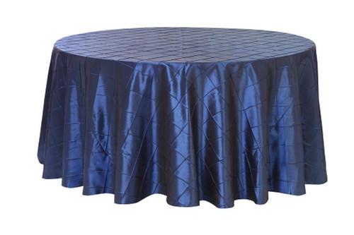 132 Inch Pintuck Taffeta Round Tablecloths Navy Blue