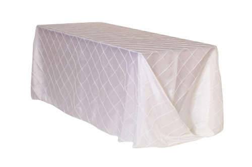90 x 156 inch Pintuck Taffeta Rectangular Tablecloths White
